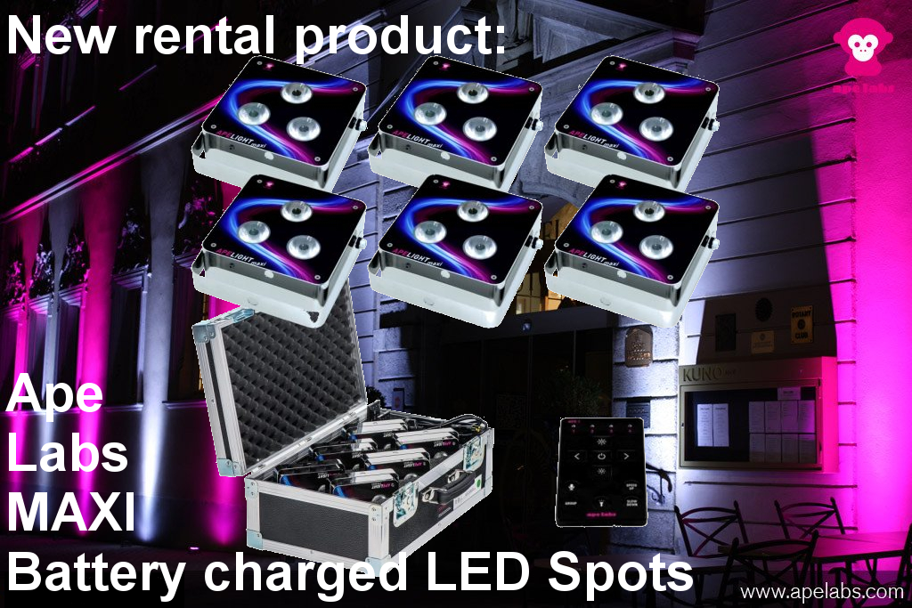 Rechargeable battery lights from Ape Labs Maxi rental in Frankfurt